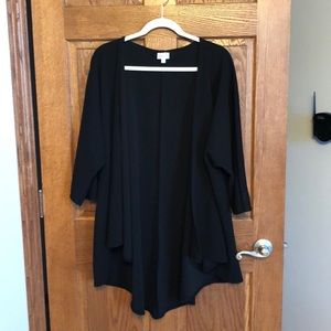 Lularoe Solid Black Textured Lindsay Coverup NWOT